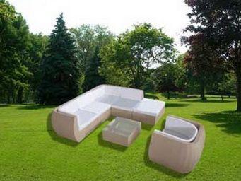 UsiRama.com - natuluxe salon de jardin en résine tressée beige - Canapé De Jardin