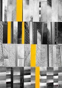 JOHANNA L COLLAGES - city 3 : yellow touch 60x80 cm - Tableau Décoratif