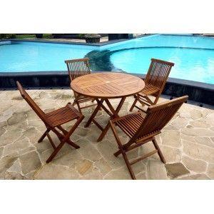 wood-en-stock - salon pliable de jardin en teck huilé : grande sun - Table De Jardin Ronde