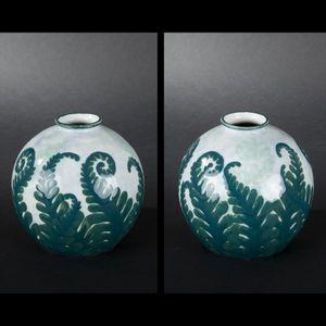 Expertissim - camille tharaud. vase en porcelaine décoré de foug - Vase À Fleurs