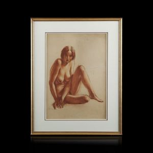 Expertissim - paul colin (1892-1985). nu assis, 1928 - Dessin Au Fusain