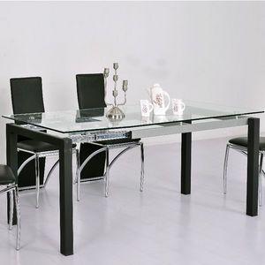 Smart Boutique Design - table en verre transparent à rallonge extensible m - Table De Repas Rectangulaire