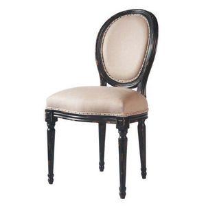 Maisons du monde - chaise noire lin louis - Chaise Médaillon