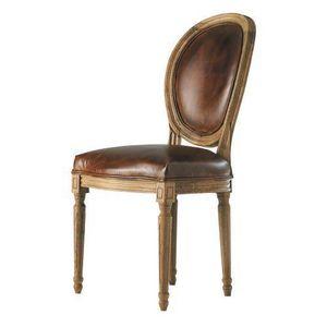 Maisons du monde - chaise cuir vieilli marron louis - Chaise Médaillon