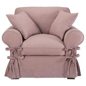 Maisons du monde - fauteuil lin vieux mauve butterfly - Fauteuil