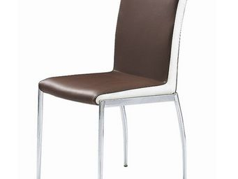 CLEAR SEAT - chaise marron et blanc simili cuir karmel - Chaise