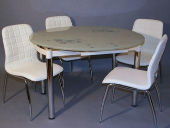 CLEAR SEAT - ensemble table ronde en verre extensible +4 chaise - Table De Repas Ronde