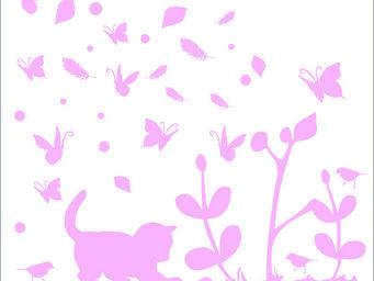 LILI POUCE - stickers chaton rose - Sticker D�cor Adh�sif Enfant