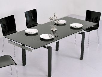 CLEAR SEAT - table en verre noire � rallonge extensible born�o - Table � Rallonge