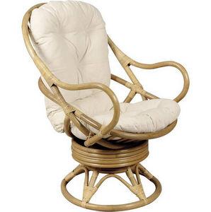Aubry-Gaspard - fauteuil pivotant et basculant en rotin - Fauteuil De Jardin