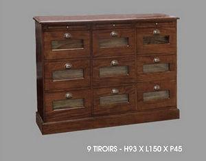 DECO PRIVE - grainetier 9 tiroirs en acajou mahogany - Grainetier