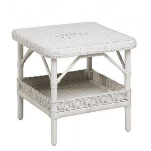 DECO PRIVE - table basse en rotin blanc - Table D'appoint De Jardin