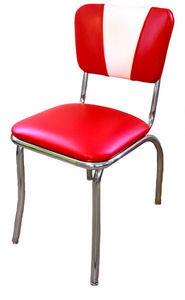 US Connection - chaise de diner vintage rouge/blanc - Chaise
