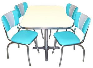 US Connection - set diner: chaise aqua vintage & table - Coin Repas
