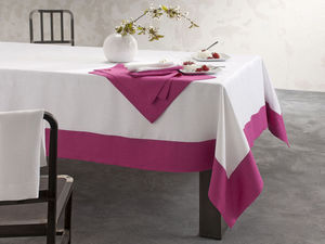 BLANC CERISE - nappe - lin d�perlant - bicolore, brod�e - Nappe Et Serviettes Assorties
