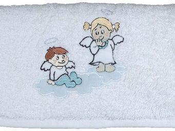 SIRETEX - SENSEI - serviette de toilette enfant 50x90cm brodée anges  - Serviette De Toilette Enfant