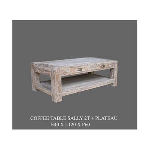 DECO PRIVE - table basse sally cerusee 120 x 100 - Table Basse Rectangulaire