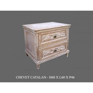 DECO PRIVE - chevet en bois ceruse modele catalane - Table De Chevet