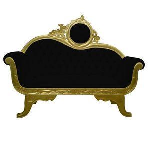 DECO PRIVE - sofa baroque 2 places dore et velours noir - Canapé 2 Places