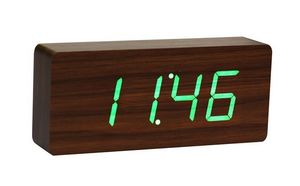 Gingko - slab walnut click clock / green led - Réveil Matin
