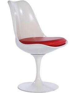 EERO SAARINEN - chaise tulipe blanche et rouge eero saarinen - Chaise