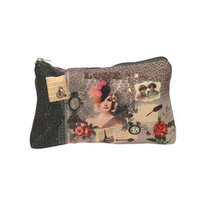 WHITE LABEL - trousse � maquillage vintage choco en polyester mo - Trousse De Toilette