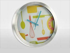 WHITE LABEL - pendule cuisine vitaminée en alu - Pendule Murale