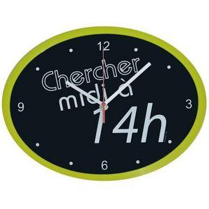 WHITE LABEL - horloge ovale cadre chercher midi à 14h - Pendule Murale