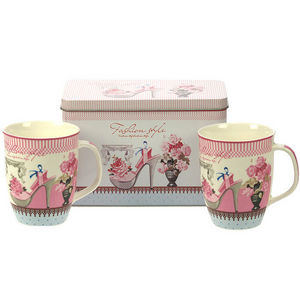 WHITE LABEL - 2 mugs en porcelaine motif fashion avec boîte en m - Mug