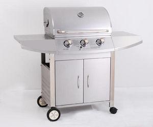 PRIMAGAZ - barbecue à gaz 3 feux diamant en inox 150x60x119cm - Barbecue Au Gaz