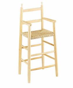 Aubry-Gaspard - chaise haute pour enfant en hêtre blanchi et rosea - Chaise Haute Enfant