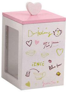 Aubry-Gaspard - boîte à thé rose et blanc en bois 9x9x13cm - Boite À Thé