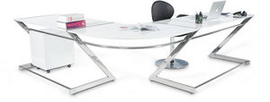 KOKOON DESIGN - bureau d'angle glossy en bois blanc laqu� et m�ta - Bureau