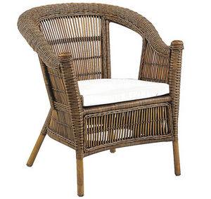 Aubry-Gaspard - fauteuil patti en rotin avec coussin en tissu 72x6 - Fauteuil De Jardin
