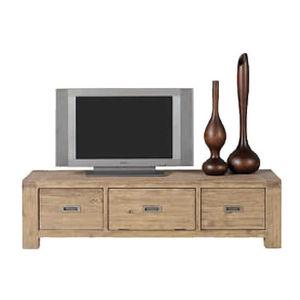 INWOOD - meuble télé 2 tiroirs 1 porte nevada en acacia 160 - Meuble Tv Hi Fi