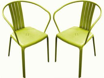PROLOISIRS - fauteuil empilable azuro en aluminium lime (par 2) - Chaise De Jardin
