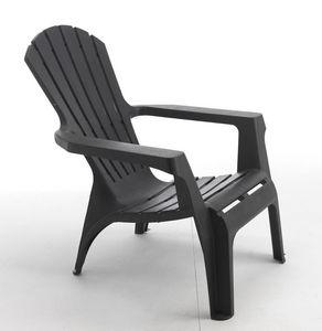 WILSA GARDEN - fauteuil adirondack anthracite en résine polypropy - Fauteuil De Jardin