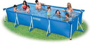 INTEX - piscine tubulaire rectangulaire avec pompe filtre  - Piscine Hors Sol Tubulaire