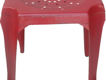 Antic Line Creations - tabouret vintage en métal rouge - Tabouret