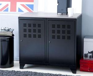 jardindeco - armoire de rangement en m�tal noir 2 portes 40x80x - Armoire De Bureau