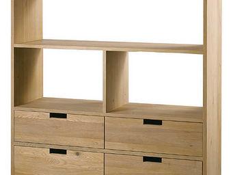 ZAGO - biblioth�que 4 niches 4 tiroirs upper en ch�ne mas - Biblioth�que Ouverte