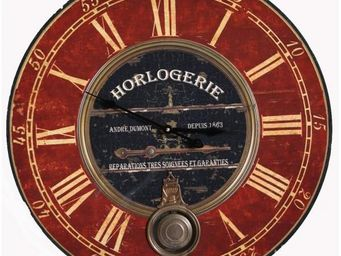 L'HERITIER DU TEMPS - horloge bois rouge et noire ø58cm - Horloge Murale
