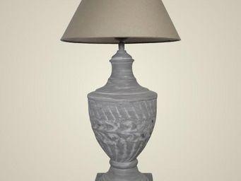 L'HERITIER DU TEMPS - lampe style loft fer & lin 62.5cm - Lampe À Poser