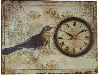 L'HERITIER DU TEMPS - horloge plaque métal oiseau - Horloge Murale