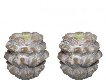 L'HERITIER DU TEMPS - 2 pommes de pin terre cuite - Bougeoir