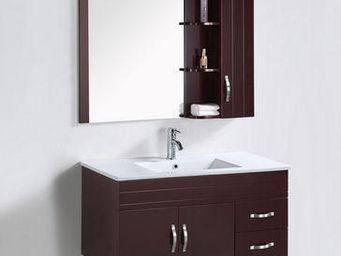 UsiRama.com - meuble salle de bain lélégant laqué noir 1m - Meuble Vasque