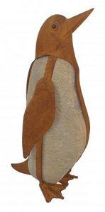 Demeure et Jardin - galet pingouin en fer forgé - Sculpture Animalière