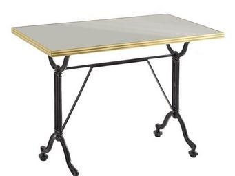Ardamez - table de repas émaillée gris / laiton / fonte - Table De Repas Rectangulaire