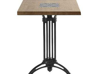 Ardamez - table de bistrot massif ch�ne / bois / email - Table Bistrot