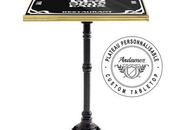 Ardamez - table de bistrot �maill�e noir / laiton / fonte - Table Bistrot